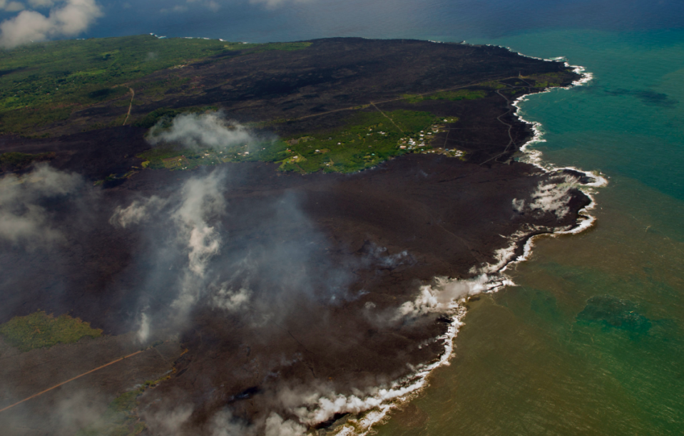 <em>Most of the Kapoho area is now covered in fresh lava as the Kilauea Volcano lower east rift zone eruption continue (PA)</em>