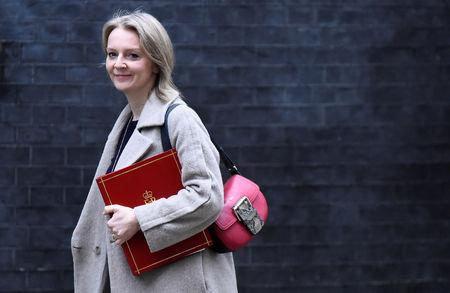 Britain's Chief Secretary to the Treasury Liz Truss arrives in Downing Street in London