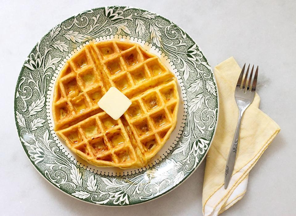Finished keto waffle with butter