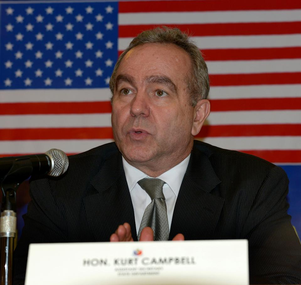 """Kurt Campbell  US Assistant Secretary of State for East Asian and Pacific Affairs Kurt Campbell gestures during a press briefing of the 3rd Philippines-United States Bilateral Strategic Dialogue in Manila on December 12, 2012. Philippine and US officials on Wednesday said they agreed to improve bilateral cooperation regarding """"maritime security and freedom of navigation"""" amid China's heightened claims to the South China Sea. Defence and foreign department officials of the two countries also further threshed out plans to boost the rotation of US military forces through the Philippines as part of increased defence cooperation. Philippine Defence Undersecretary Pio Lorenzo Batino said the South China Sea issue was discussed """"in the context of the increased rotational presence,"""" of US forces in this country. """"We have highlighted the need to uphold maritime security and the freedom of navigation,"""" he said.  AFP PHOTO / JAY DIRECTO        (Photo credit should read JAY DIRECTO/AFP via Getty Images)"""