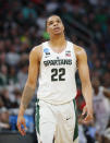 Michigan State guard Miles Bridges (22) reacts during the second half of an NCAA men's college basketball tournament second-round game against Syracuse in Detroit, Sunday, March 18, 2018. (AP Photo/Paul Sancya)