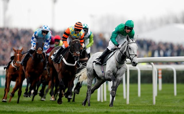Horse Racing - Grand National Festival - Aintree Racecourse, Liverpool, Britain - April 12, 2018 Bristol De Mai ridden by D A Jacob leads during the 14:50 Betway Bowl Chase Action Images via Reuters/Matthew Childs