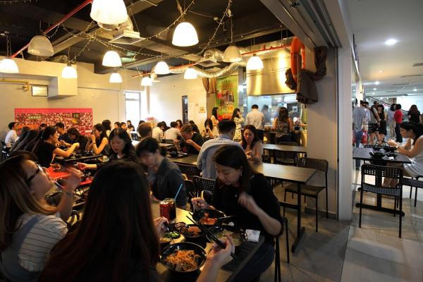 Bustling crowds at The Ark Music Cafe and My Favourite Café Yong Tau Fu in Bugis Cube