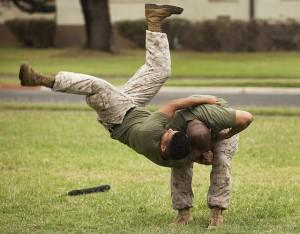 Martial artists in military camo