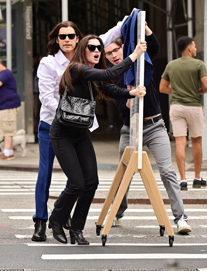 <p>Anne Hathaway and Jared Leto hit the streets of N.Y.C. on Sept. 8 to film scenes for their movie, <em>We Crashed.</em></p>