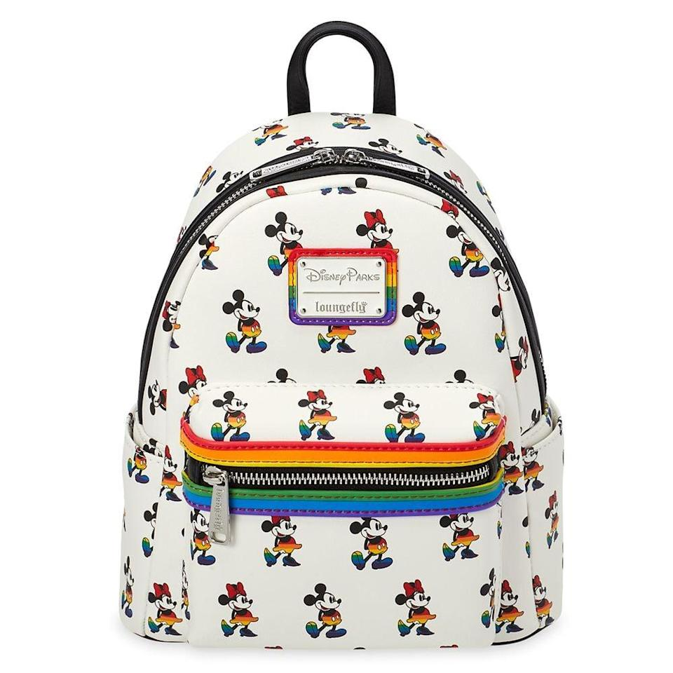 <p>The <span>Mickey and Minnie Mouse Mini Loungefly Backpack</span> ($75) comes in an allover rainbow Mickey and Minnie pattern.</p>