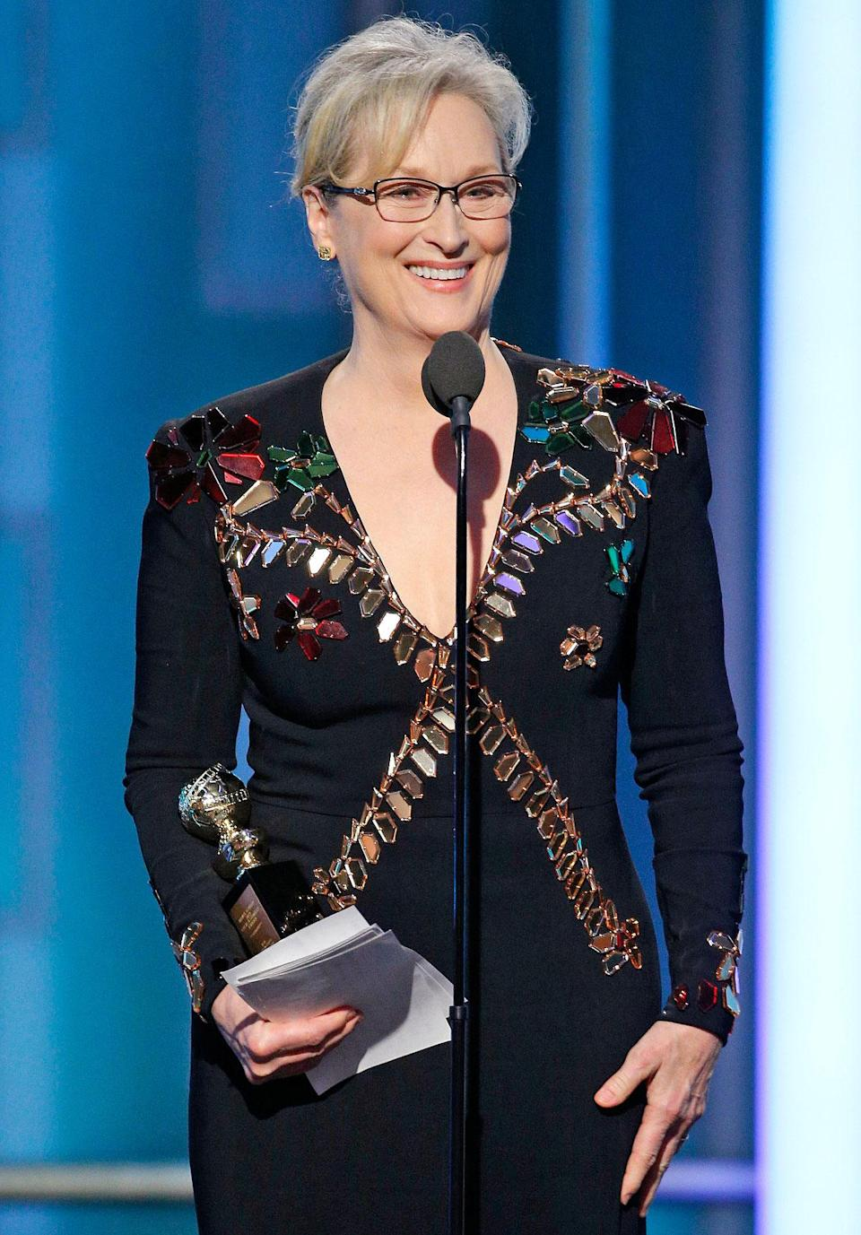 """<p>Meryl Streep won the Cecil B. DeMille Award in 2017 and used her time at the mic <a href=""""https://people.com/awards/golden-globes-2017-meryl-streep-wins-cecil-b-demille-award-take-aim-donald-trump/"""" rel=""""nofollow noopener"""" target=""""_blank"""" data-ylk=""""slk:to take aim at"""" class=""""link rapid-noclick-resp"""">to take aim at</a> then-President Donald Trump in a firey speech.</p>"""