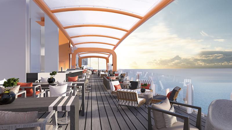 The view from the Celebrity Edge's Magic Carpet