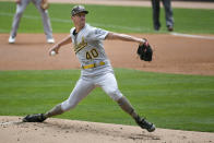 Oakland Athletics pitcher Chris Bassitt throws against the Minnesota Twins during the first inning of a baseball game, Sunday, May 16, 2021, in Minneapolis. (AP Photo/Craig Lassig)