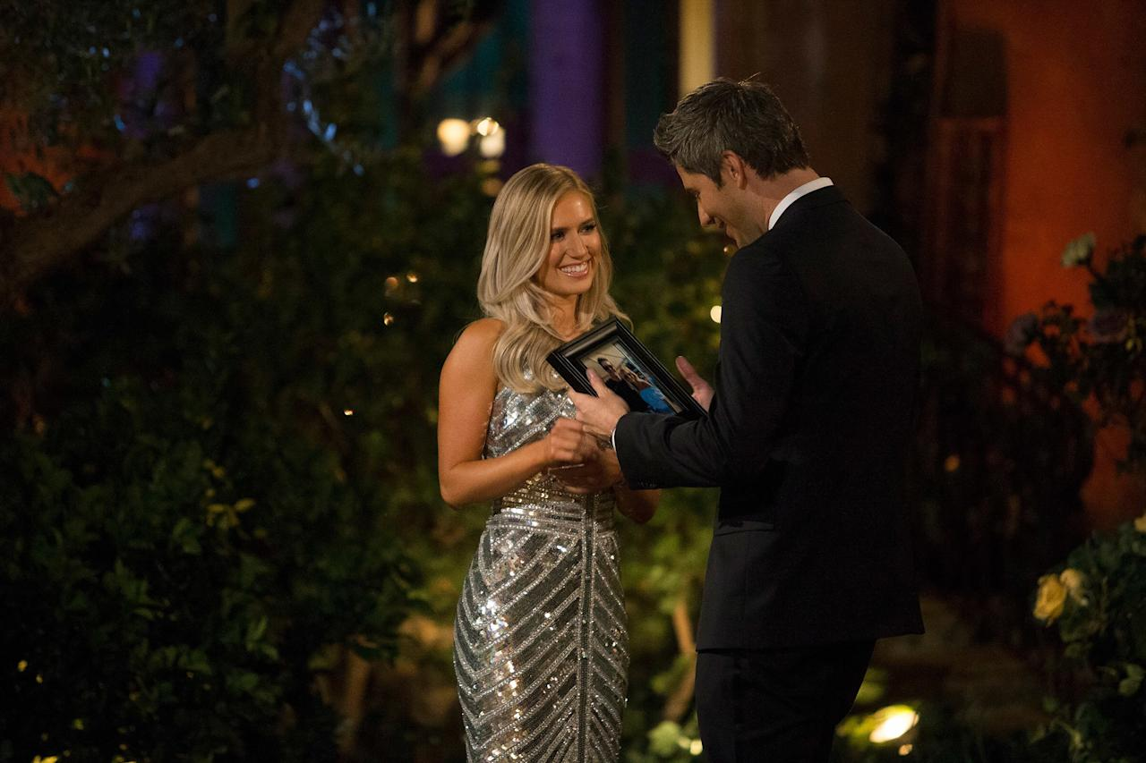 "Before she ended up with Arie Luyendyk Jr., Lauren Burnham revealed upon exiting the limo that she had met him before. She gifted the race car driver a framed photo of that fateful day, and the rest is history.   After Luyendyk initially chose Becca Kufrin for a fiancée, he <a href=""https://people.com/tv/bachelor-nation-outraged-arie-luyendyk-jr/"">broke things off with her</a> (on television) and <a href=""https://people.com/tv/arie-luyendyk-jr-engaged-lauren-burnham/"">asked runner-up Burnham for her hand in marriage</a> (also on television). The pair are now married and share a daughter, <a href=""https://people.com/parents/arie-luyendyk-jr-lauren-burnham-welcome-baby-daughter/"">Alessi Ren</a>."
