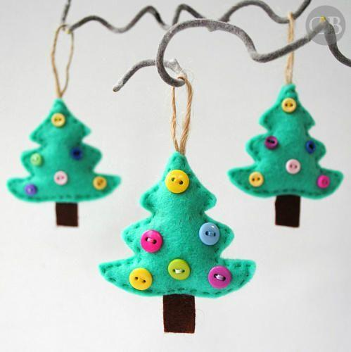 """<p>Buttons become cute ornaments on these little felt trees. </p><p>Get the tutorial at <a href=""""https://buddlycrafts.com/blog/98/felt-christmas-tree-ornament-tutorial/"""" rel=""""nofollow noopener"""" target=""""_blank"""" data-ylk=""""slk:Buddly Crafts"""" class=""""link rapid-noclick-resp"""">Buddly Crafts</a>.</p>"""