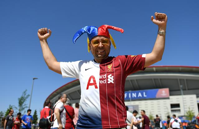 A fan with a half and half shirt before the UEFA Champions League final. (Photo by Joe Giddens/PA Images via Getty Images)