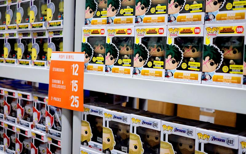 LOS ANGELES, CALIFORNIA - OCTOBER 11: Funko Pop! Vinyl figurine bobble-heads are displayed during 2019 Los Angeles Comic Con at Los Angeles Convention Center on October 11, 2019 in Los Angeles, California. (Photo by Paul Butterfield/Getty Images)