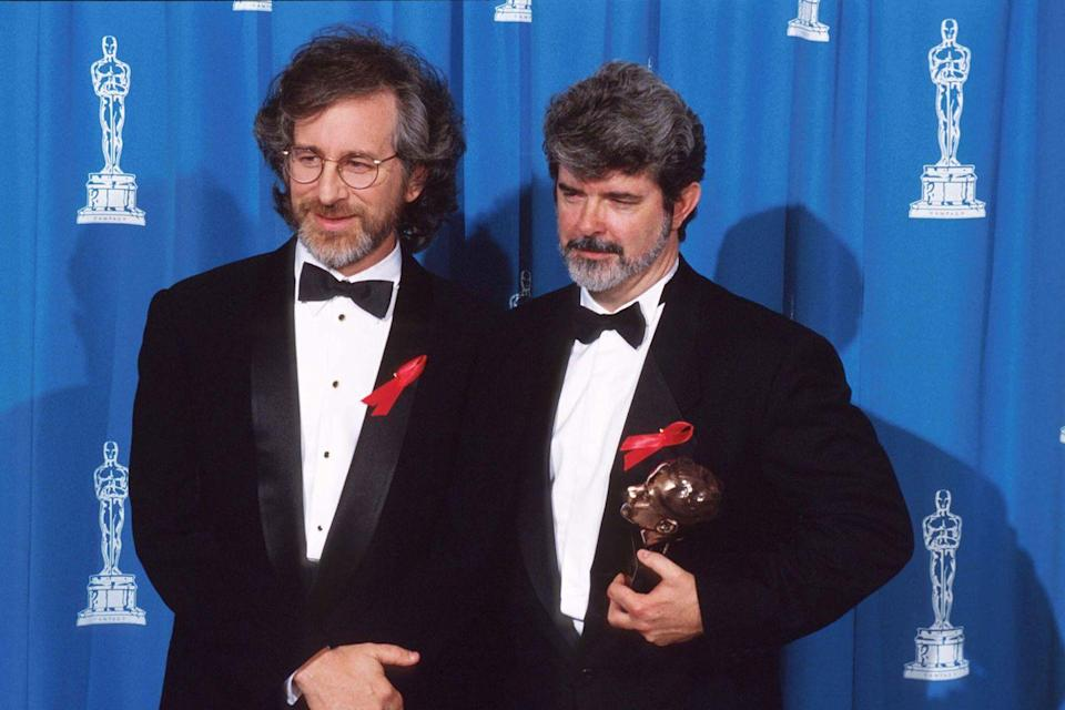 <p> Steven Spielberg presented longtime pal and fellow director George Lucas with the Irving G. Thalberg Memorial Award.</p>