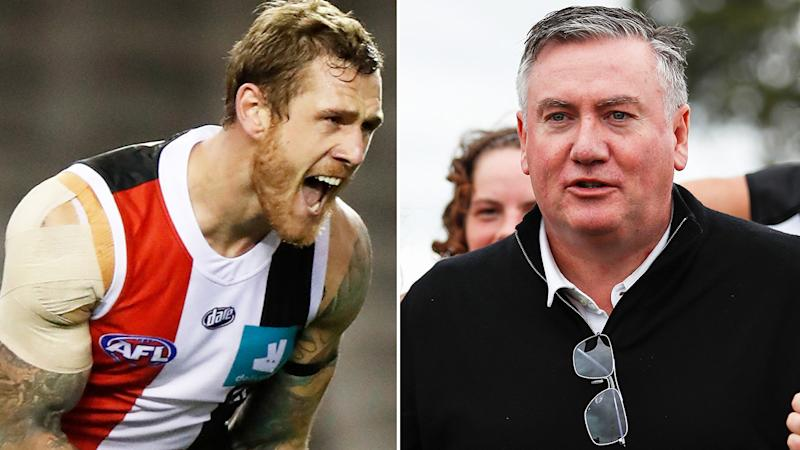 A 50-50 split image shows St Kilda's Tim Membrey on the left and AFL commentator Eddie McGuire on the right.
