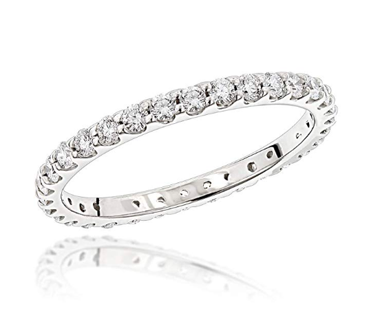 Diamond Eternity Band Thin 18K Gold Ladies Diamond Ring 0.8 ctw G-H Color VS2-SI1 Clarity. Available in rose gold and yellow gold. Image via Amazon.