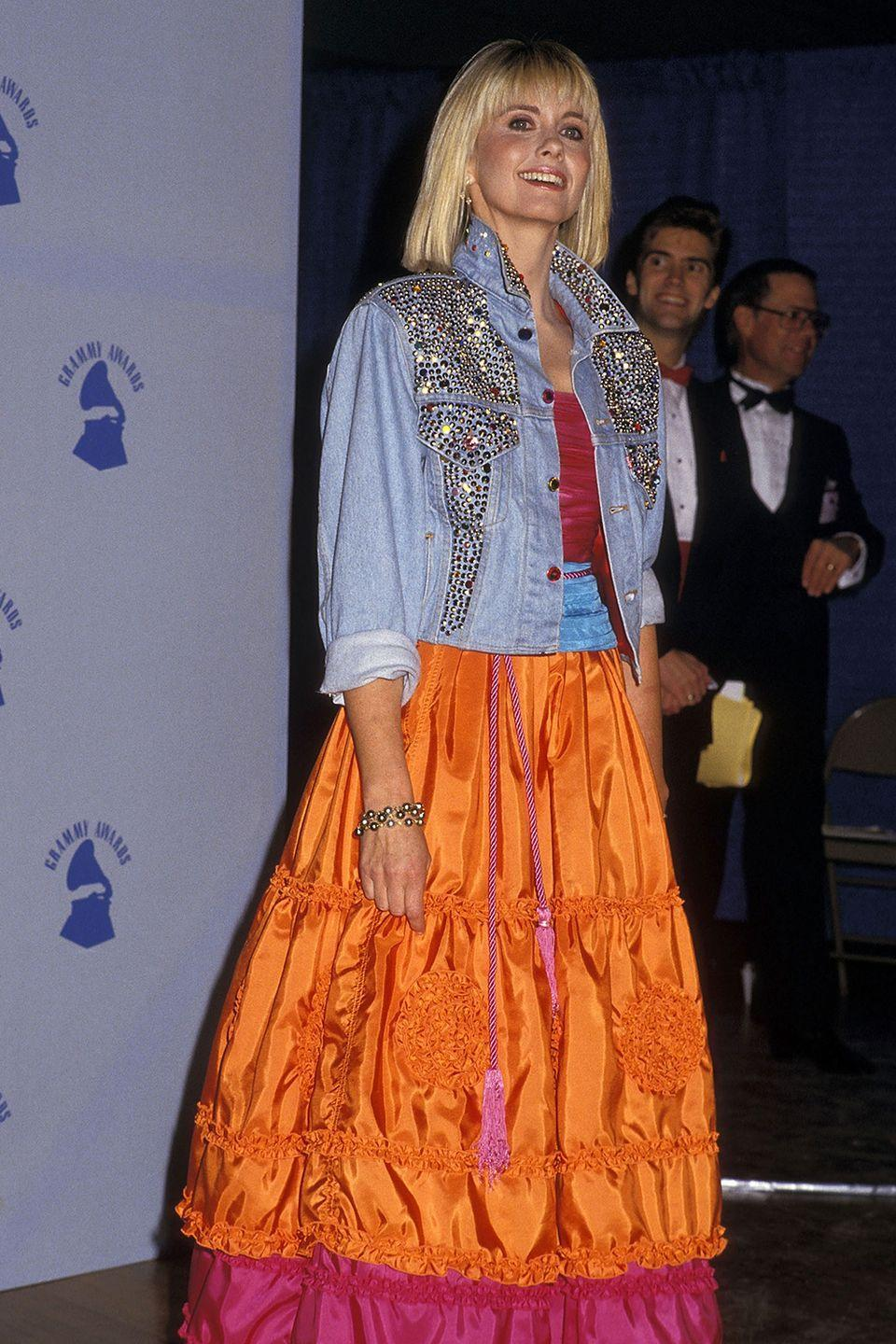 <p>I like to think ONJ spent the week before the Grammys sitting at home bedazzling that denim jacket herself.</p>
