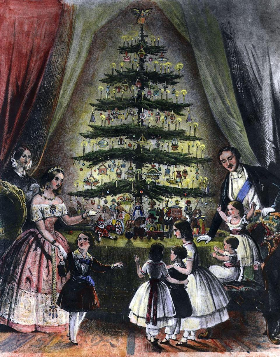 "<p>You might want to brew a cup o' tea when trimming your tree this year to pay homage to its origins. When Prince Albert of Germany introduced a tree to his new wife, Queen Victoria of England, it really took off across the pond. A drawing of the couple in front of a Christmas tree appeared in <em><a href=""http://www.history.com/topics/christmas/history-of-christmas-trees"" rel=""nofollow noopener"" target=""_blank"" data-ylk=""slk:Illustrated London News"" class=""link rapid-noclick-resp"">Illustrated London News</a></em> in 1848 and as we say, the idea went viral. </p>"