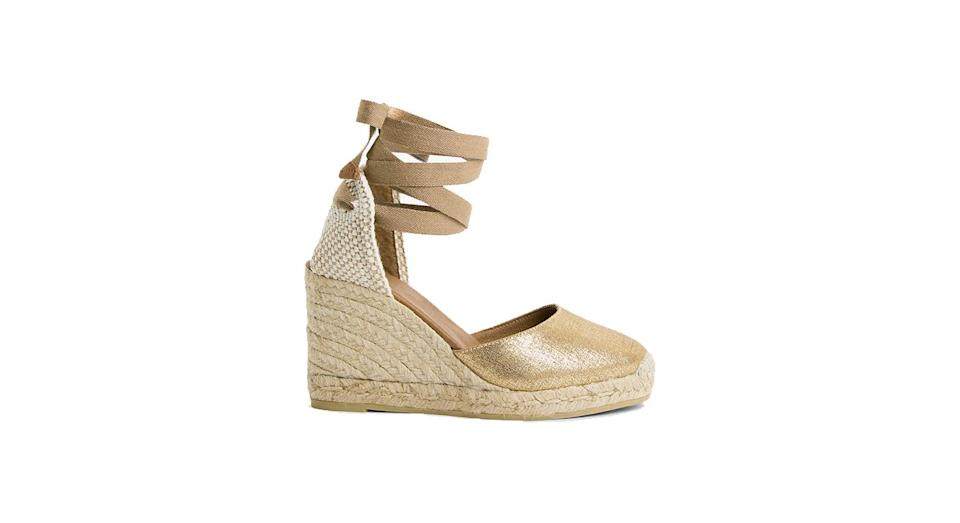 AND/OR Karina Leather Espadrille Wedge Heel Sandals