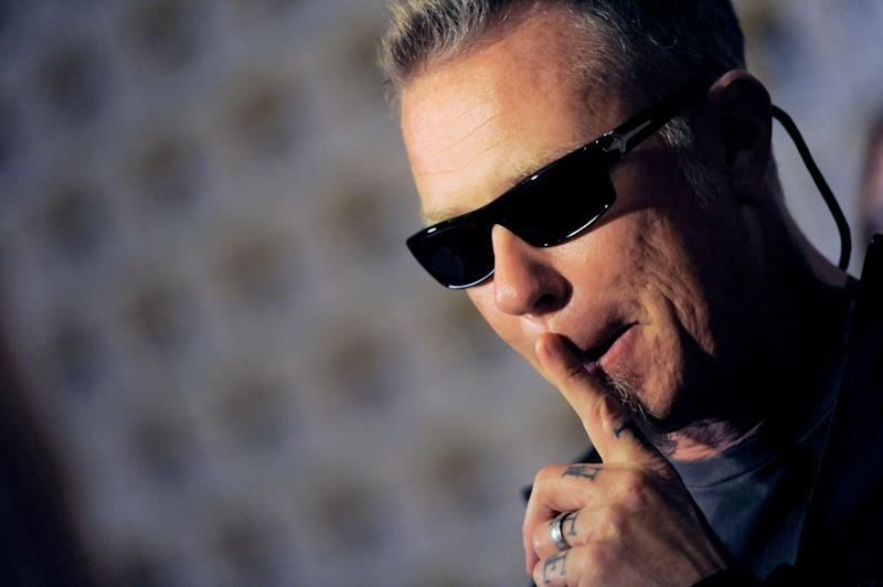"James Hetfield, of musical group Metallica, speaks to media at the ""Metallica Through the Never"" press line on Day 3 of Comic-Con International on Friday, July 19, 2103 in San Diego, Calif. (Photo by Chris Pizzello/Invision/AP)"