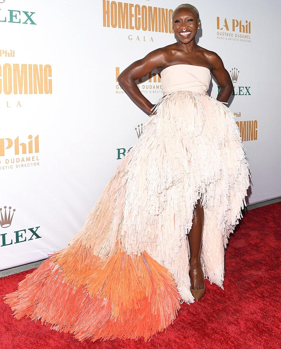 <p>Cynthia Erivo is a knockout on the red carpet at Walt Disney Concert Hall for the Los Angeles Philharmonic Homecoming Concert and Gala on Oct. 9.</p>