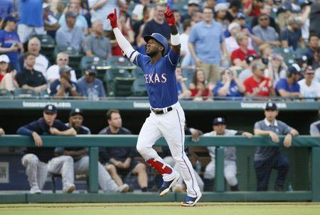 May 22, 2018; Arlington, TX, USA; Texas Rangers shortstop Jurickson Profar (19) rounds the bases after hitting a three run home run in the first inning against the New York Yankees at Globe Life Park in Arlington. Mandatory Credit: Tim Heitman-USA TODAY Sports