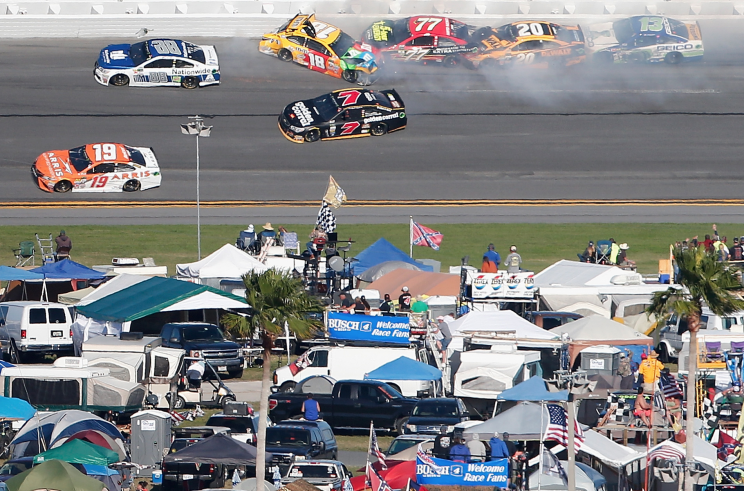 Kyle Busch wrecks on Lap 106 of the Daytona 500. (Getty Images)