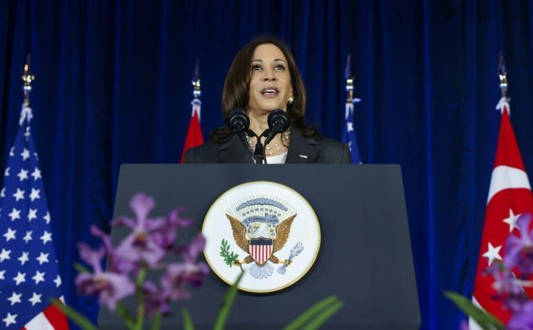 US Vice President Kamala Harris delivers a speech in Singapore during a visit to promote US relations in the region against China's alleged threat (AFP/EVELYN HOCKSTEIN)