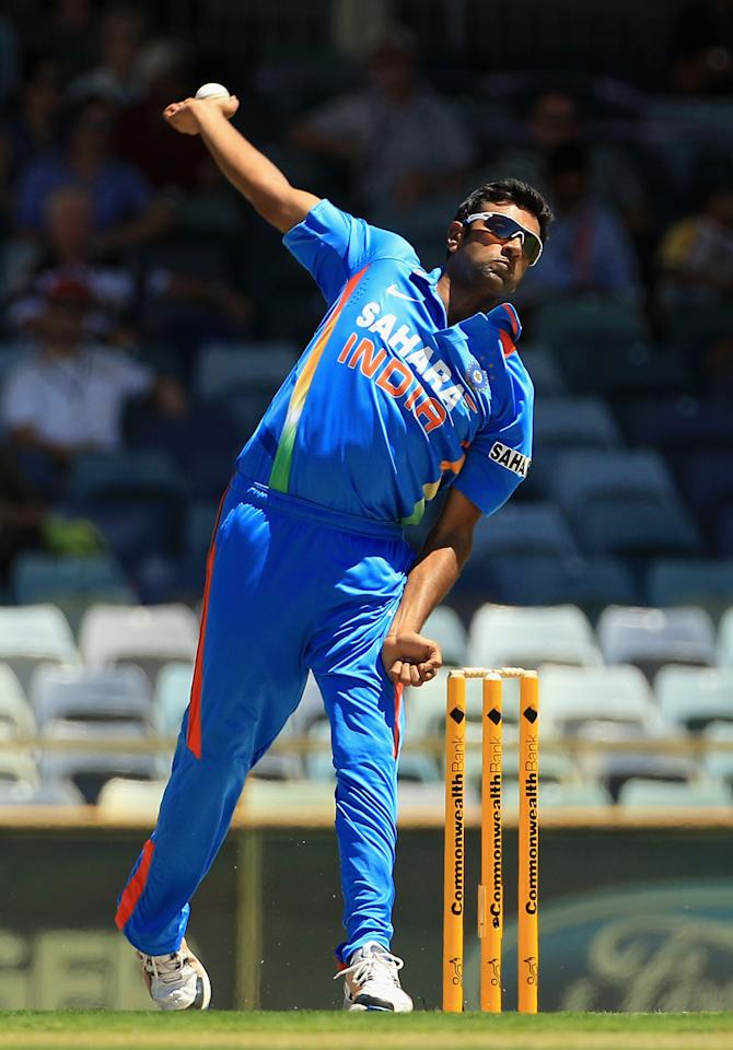 PERTH, AUSTRALIA - FEBRUARY 08:  Ravichandran Ashwin of India in action during the One Day International match between India and Sri Lanka at WACA on February 8, 2012 in Perth, Australia.  (Photo by Hamish Blair/Getty Images)