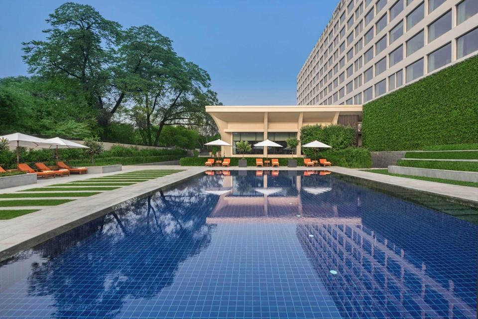 The pool at the Oberoi, New Delhi, voted one of the best hotels in the world