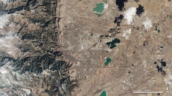The Landsat Data Continuity Mission satellite captured this image of the area around Boulder, Colo., on March 18, 2013.