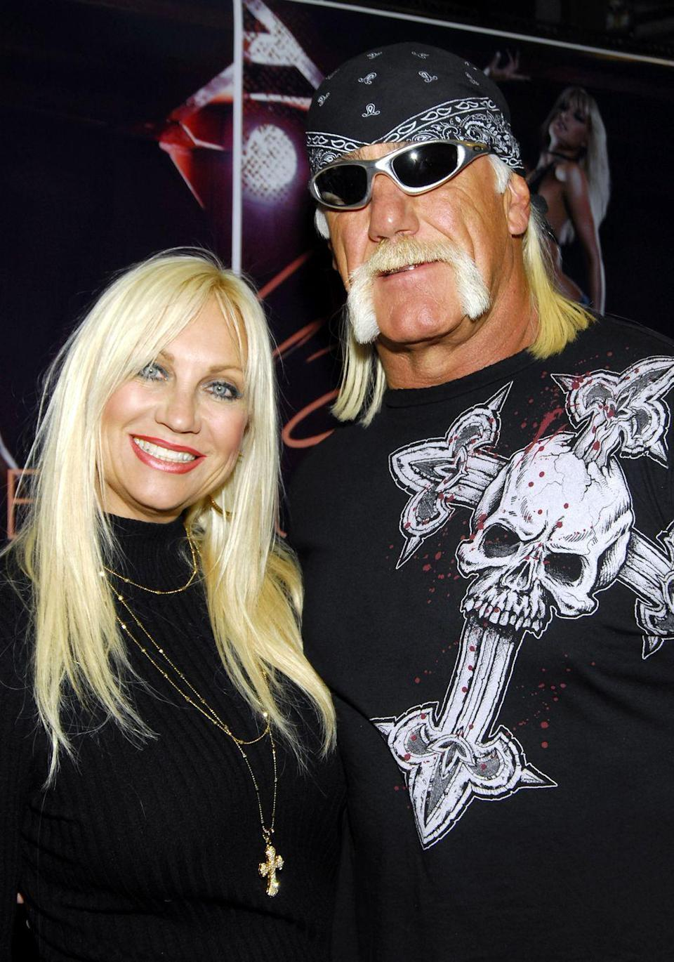 "<p>The professional wrestler's wife, Linda Claridge, divorced him after finding out about Hogan's relations with Christiane Plante. Claridge walked out of the marriage with <a href=""https://www.marieclaire.com/culture/g19123551/most-expensive-celebrity-divorce-settlements/?slide=12"" rel=""nofollow noopener"" target=""_blank"" data-ylk=""slk:$30 million"" class=""link rapid-noclick-resp"">$30 million</a>.</p>"