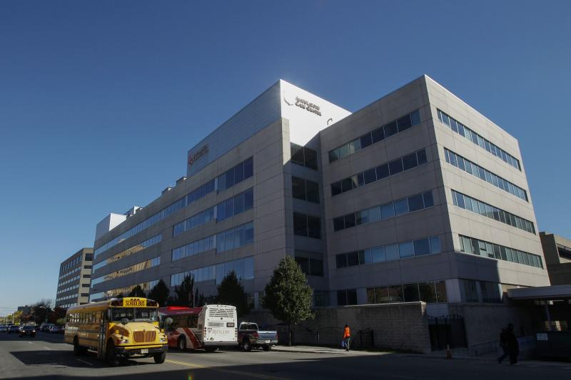 General view of the University Hospital where a nurse is hold in isolation for Ebola symptoms in Newark, New Jersey