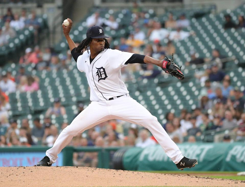 Detroit Tigers starter Jose Urena (62) pitches against the Houston Astros during third inning action on Thursday, June 24, 2021, at Comerica Park in Detroit.