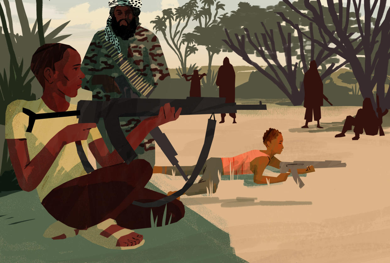 The child soldiers trained daily in shooting and other military exercises. (Illustration by Noah MacMillan for Yahoo News)