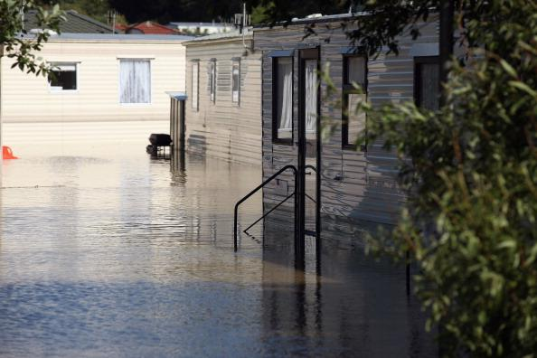 A caravan site is flooded in the seaside village of Borth on June 9, 2012 in Aberystwyth, Wales. Severe flooding has affected mid Wales with a major rescue operation under way taking to safety nearly 100 people so far. (Photo by Christopher Furlong/Getty Images)