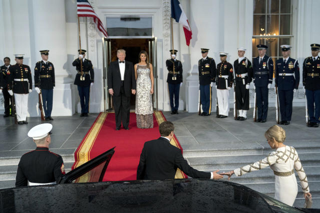 <p>President Donald Trump and first lady Melania Trump greet French President Emmanuel Macron and his wife Brigitte Macron as they arrive for a State Dinner at the White House in Washington, Tuesday, April 24, 2018. (Photo: Andrew Harnik/AP) </p>