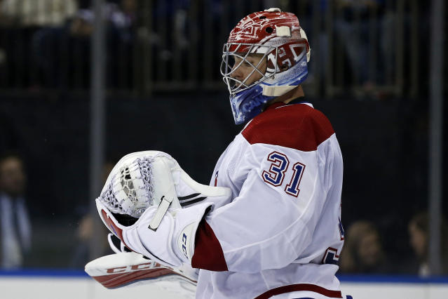 "<a class=""link rapid-noclick-resp"" href=""/nhl/teams/mon/"" data-ylk=""slk:Montreal Canadiens"">Montreal Canadiens</a> goalie <a class=""link rapid-noclick-resp"" href=""/nhl/players/3782/"" data-ylk=""slk:Carey Price"">Carey Price</a> is a perfect buy-low candidate. (AP Photo/Adam Hunger)"