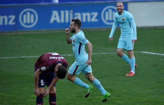 Soccer Football - La Liga Santander - Eibar vs FC Barcelona - Ipurua, Eibar, Spain - February 17, 2018 Barcelona's Jordi Alba celebrates scoring their second goal REUTERS/Vincent West
