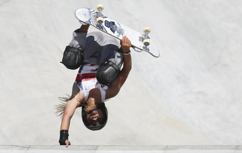 TOKYO, JAPAN - AUGUST 4: Sky Brown of Great Britain during the Women's Park Skateboarding Final on day twelve of the Tokyo 2020 Olympic Games at Ariake Urban Sports Park on August 4, 2021 in Tokyo, Japan.  (Photo by Jean Catuffe/Getty Images)