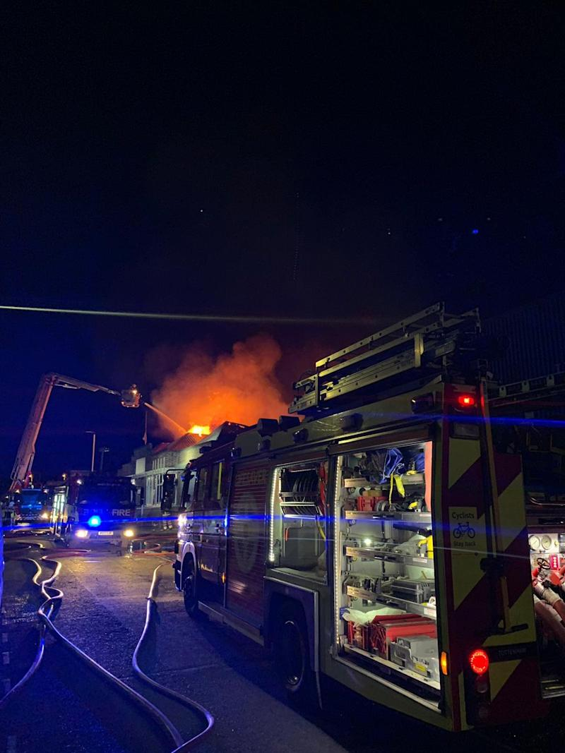 Firefighters battle to bring the flames under control in the early hours of Thursday (London Fire Brigade)