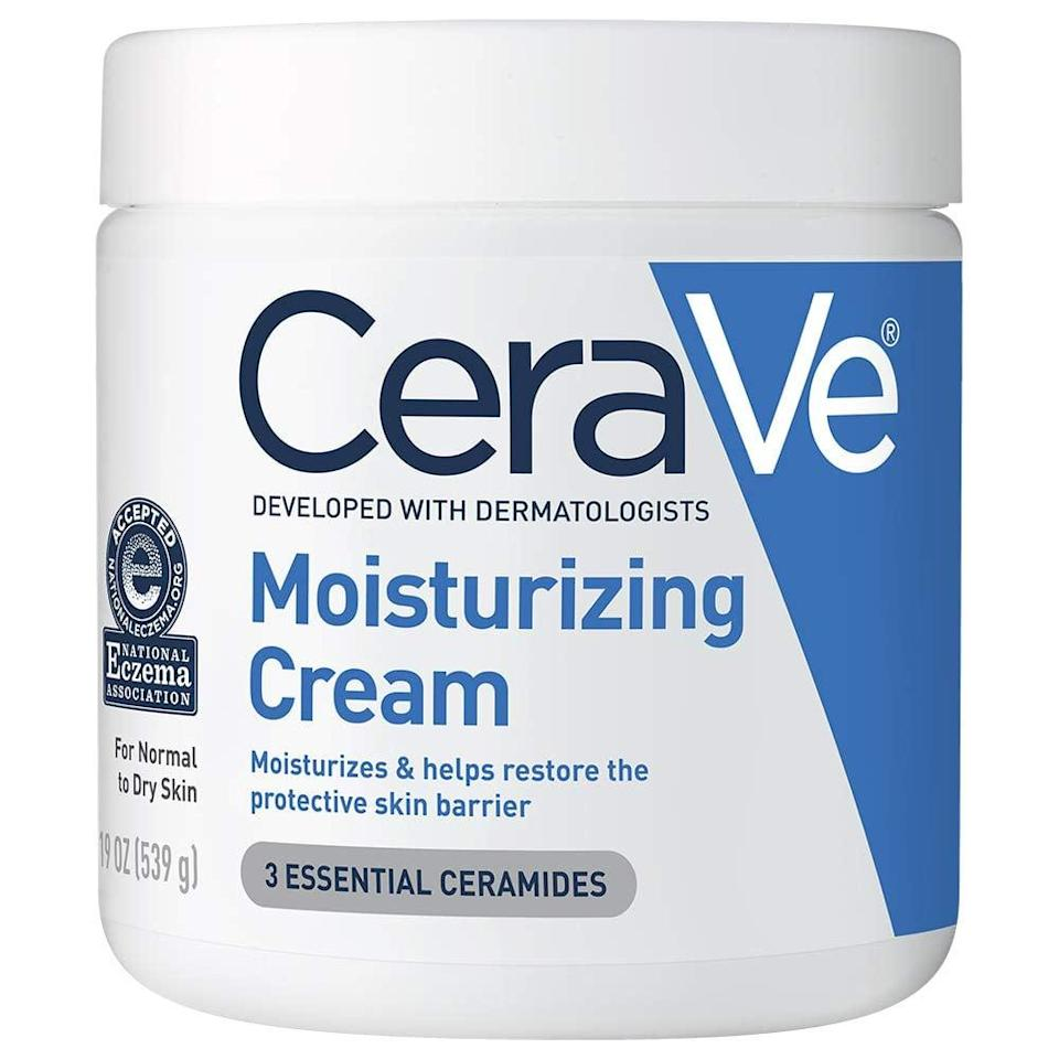 <p>Fragrance free and made with a blend of skin-coddling ceramides and hyaluronic acid, it's no wonder that dermatologists on both sides of the Atlantic rate <span>CeraVe Moisturizing Cream</span> ($16) for treating dry and severely dry skin (yes, including eczema and psoriasis). Plus, we love the fact it comes in such a big jar, allowing us to slather it on our limbs, hands, and even faces with abandon.</p>
