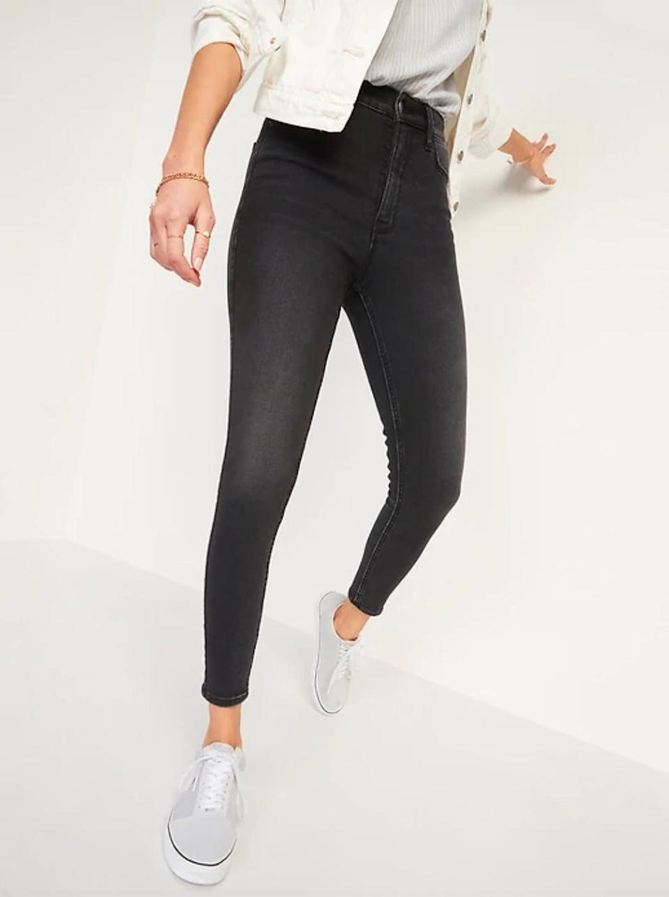 <p>With a contoured waistband and 360° stretch, the <span>Old Navy Extra High-Waisted Rockstar 360° Stretch Super Skinny Jeans</span> ($45) are universally flattering on any shape. </p>