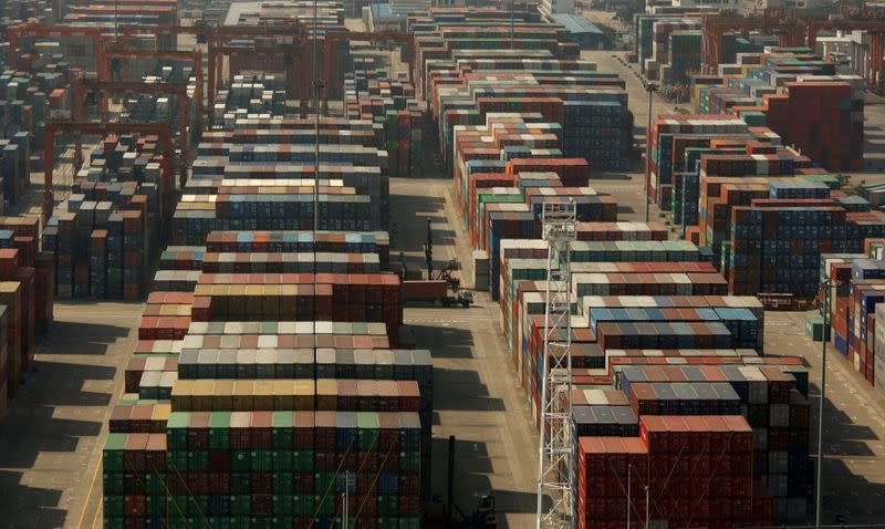 FILE PHOTO: Containers are seen at the Yantian International Container Terminal in the southern Chinese city of Shenzhen