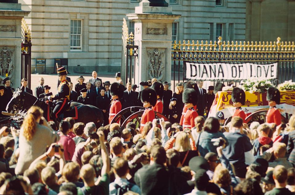 Diana's funeral procession passing Buckingham PalaceShutterstock