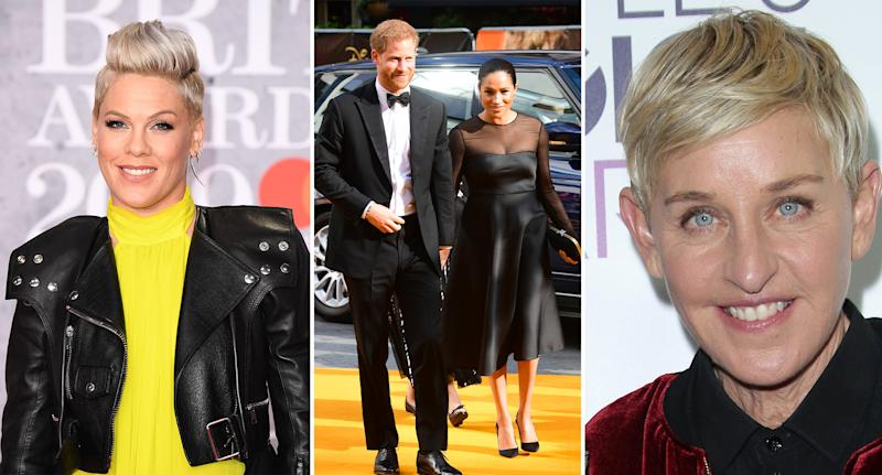 Pink and Ellen Degeneres have defended Harry and Meghan. [Photo: Getty/PA]