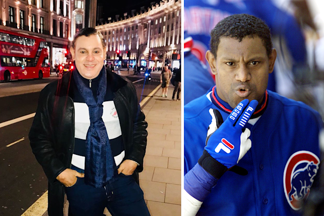 Sammy Sosa last week in Paris and during his playing days. (AP)