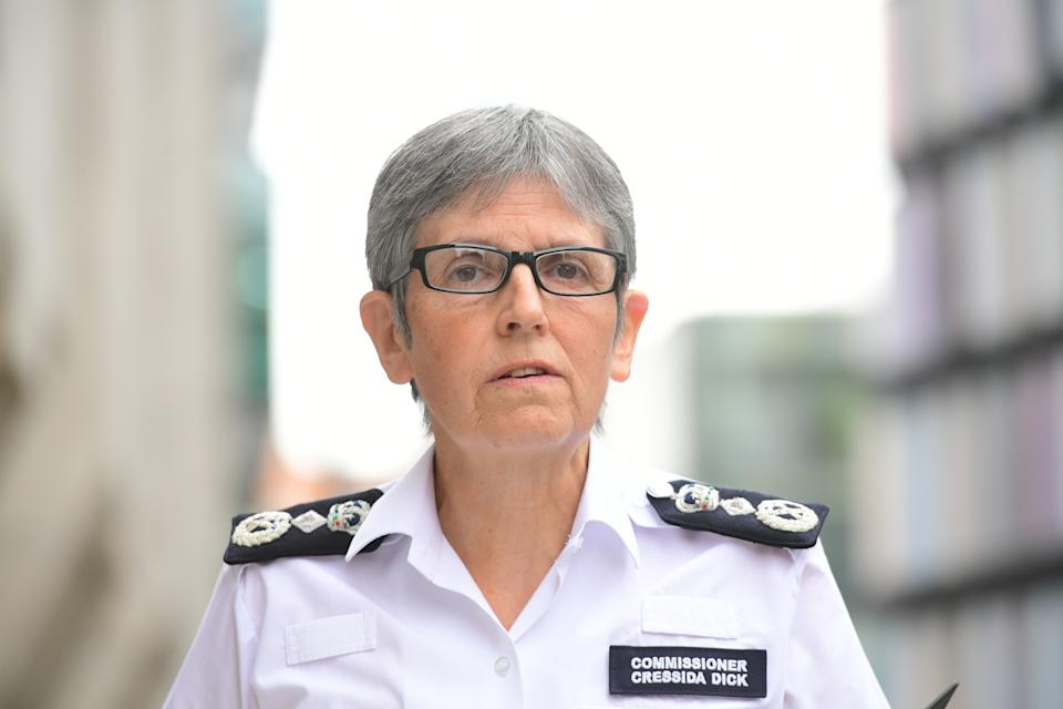 Metropolitan Police Commissioner Cressida Dick speaking outside the Old Bailey in central London after Metropolitan Police officer Wayne Couzens pleaded guilty to the murder of Sarah Everard. Picture date: Friday July 9, 2021.