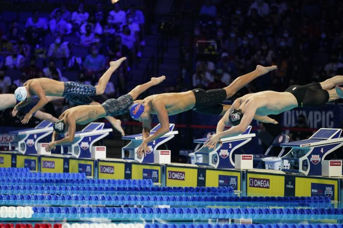 The start of the Men's 400 Freestyle during wave 2 of the U.S. Olympic Swim Trials on Sunday, June 13, 2021, in Omaha, Neb. (AP Photo/Charlie Neibergall)