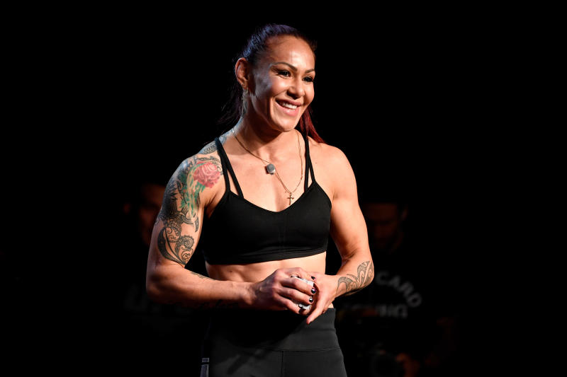 EDMONTON, AB - JULY 24: Cris Cyborg of Brazil holds an open workout session for fans and media at the Starlite Room on July 24, 2019 in Edmonton, Alberta, Canada. (Photo by Jeff Bottari/Zuffa LLC/Zuffa LLC via Getty Images)